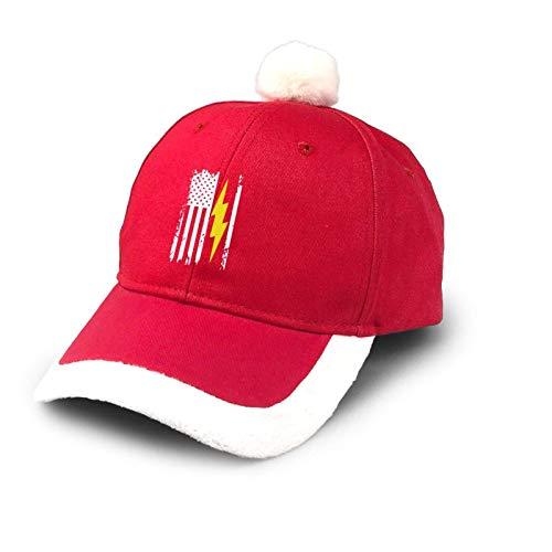 Sombrero de camionero de EE. UU. Rayo Perno Electricista de Navidad Sombrero de bisbol de algodn para pap Sombrero de Pap Noel Disfraz Rojo