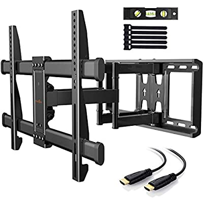 TV Wall Bracket, Tilt Swivel Dual Arm TV Mount Max.VESA 600x400mm for 37-70 Inch LED LCD Plasma Flat& Curved Screens up to 60kg, Includes 1.8m HDMI Cable, Bubble Level,Cable Ties by Perlegear