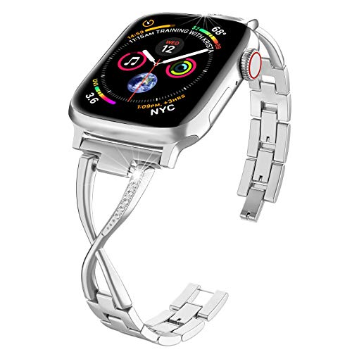 PUGO TOP Cinturino in Acciaio Compatibile with Apple Watch Serie 5 4 40mm 44mm iWatch Series 3 2 1 38mm 42mm Band in Metallo Bracelet X-Link(42mm/44mm, Argento)
