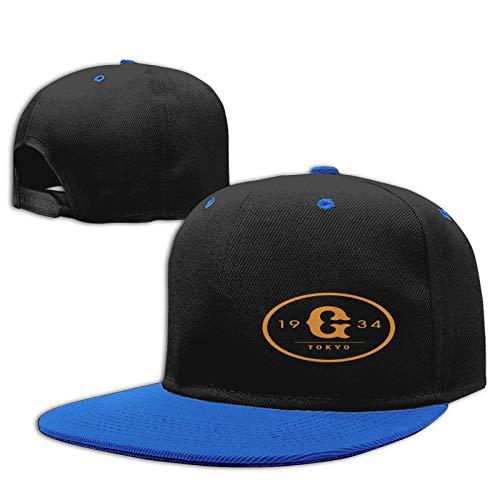 Jiso-Bag コントラスト ヒップホップ ベースボール キャップ 東京ジャイアンツ野球 Blue 帽子 野球帽 平つば 硬つば 長つば スナップボタン メンズ