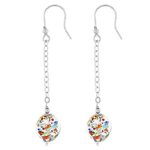 Venetiaurum - Pendientes largos para mujer con perlas de cristal original de Murano y plata 925 - Made in Italy certificado