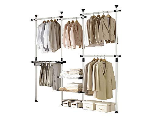 PRINCE HANGER, Deluxe Pants & Shelf Hanger, Clothing Rack, Clothes Organizer, Pants Hanger, Freestanding, Tension Rod, Heavy Duty, PHUS-0052, Made in Korea