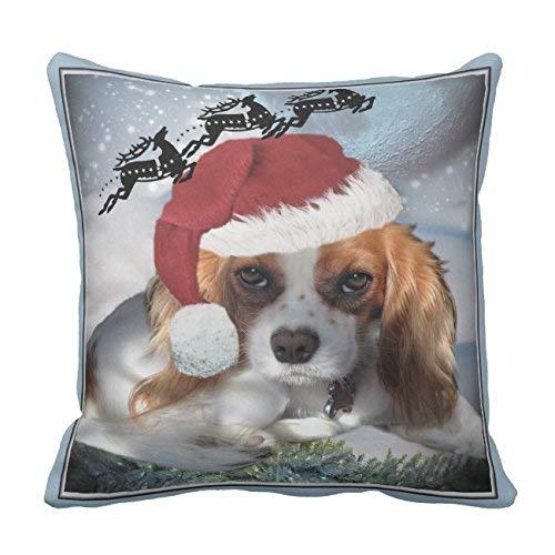 N\A Cavalier King Charles Frohe Weihnachten Kissenbezug Quadratische weiche Baumwolle Leinwand Home Dekorative Hochzeitskissenbezug für Sofa und Bett eine Seite