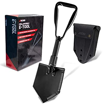 """TAC9ER Entrenching Tool Shovel 23"""" - Portable Metal Tactical Shovel with Serrated Steel Blade for Camping Backpacking Gardening Emergencies Survival and Heavy Duty Use"""