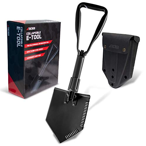 """TAC9ER Entrenching Tool Shovel 23""""  Portable Metal Tactical Shovel with Serrated Steel Blade for Camping Backpacking Gardening Emergencies Survival and Heavy Duty Use"""