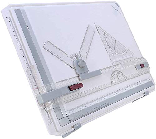 A3 Drawing Board Table Set, Drafting Table Drawing Board Ergonomic Multi-Funtion Metric Graphic Architectural Sketch Board with Clear Rule Parallel Motion and Adjustable Measuring System Angle