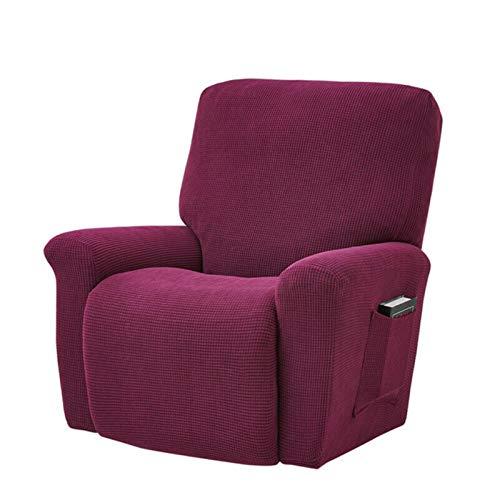 Funda de sofá elástica reclinable de Estilo Europeo, Gris carbón, Forro Polar Grueso, Almohadilla de protección reclinable, Funda Antideslizante para Muebles, Rojo Violeta