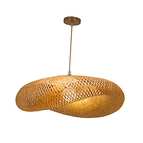 B Blesiya Lustre Bambou Rotin Osier, Lustre en Bambou Rétro Lampe LED Luminaires en Rotin Droplight pour Salle à Manger, Chambre, Bureau