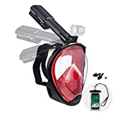 Dekugaa Full Face Snorkel Mask, Adult Snorkeling Mask with Detachable Camera Mount, 180 Degree Panoramic Viewing Upgraded Dive Mask with Safety Breathing System (Black red, Medium)