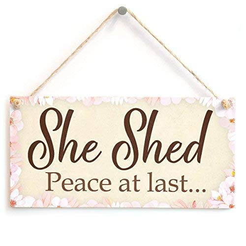 Brooer2ick Schild mit Aufschrift She Shed Peace at Last Mum Peace and Quiete, aus Holz