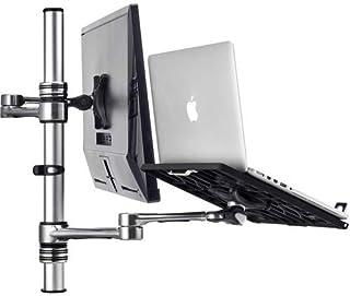 ATDEC Laptop & Display Monitor Desk/Table Combo Mount, Dual Arms, VESA, Adjustable, Clamp or Bolt Through, Ergonomic, Silv...
