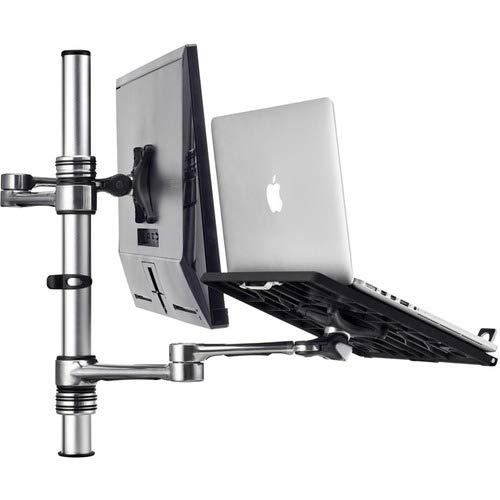 ATDEC Laptop & Display Monitor Desk/Table Combo Mount, Dual Arms, VESA, Adjustable, Clamp or Bolt Through, Ergonomic, Silver Aluminum(Af-at-NBC-P)