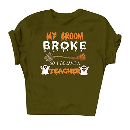 Dosoop My Broom Broke So I Became A Teacher Halloween T-Shirt Brooms Casual Short Sleeve Blouse Tee Shirts Tops Tunic