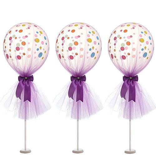 Artstore - Globos de tul de 30,5 cm, globos de látex de lunares con base de columna, kit para decoración de bodas, fiestas de cumpleaños, 6 unidades, color morado