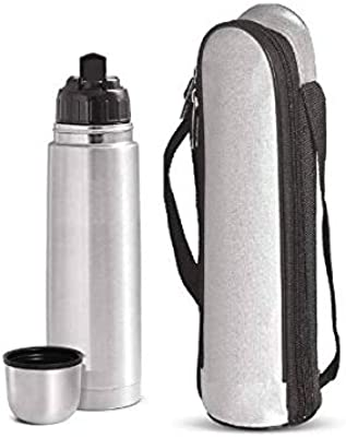 MELVIS Insulated Flip Lid Thermosteel Vaccum Flask Bottle 1000 ml Flask(Pack of 1, Silver, Steel)