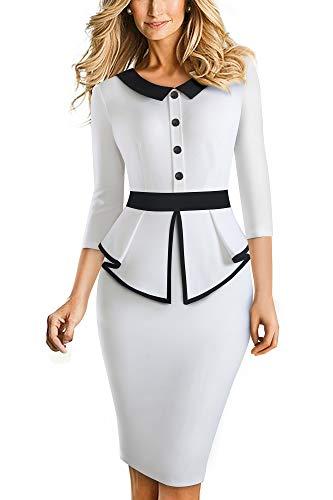 HOMEYEE Elegante Vestido de Oficina Bodycon de Patchwork con Solapa de Manga 3 4 con Solapa para Mujer B558 (S, Blanco)