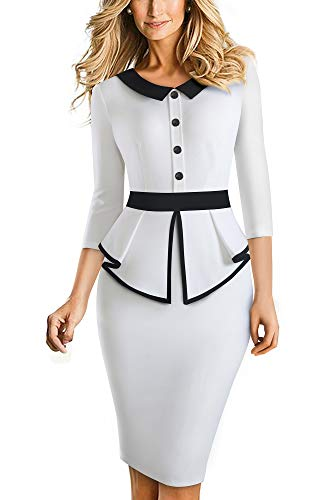 HOMEYEE Elegante Vestido de Oficina Bodycon de Patchwork con