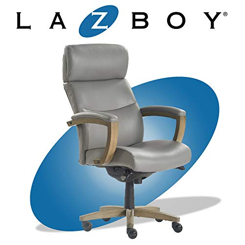 La-Z-Boy Greyson Modern Executive Office Chair, Solid Wood Arms and Wheeled Base, Ergonomic High-Back Lumbar Support, Bonded Leather, Grey
