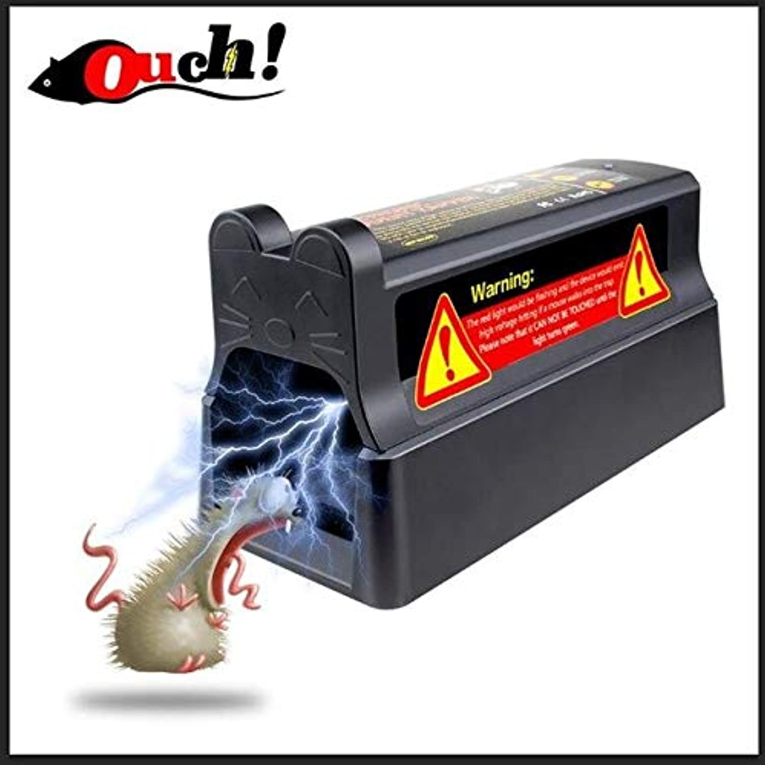 Ouch Electronic Mousetrap with UK Plug Adapter Professional high Voltage Effective and Powerful Killer for Rat Squirrels   Black and UK Plug
