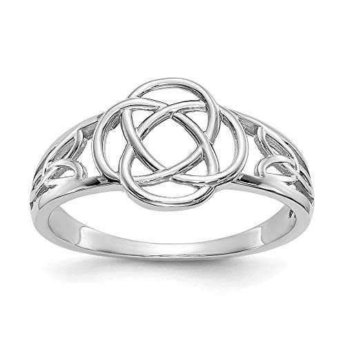 14k White Gold Ladies Irish Claddagh Celtic Knot Band Ring Size 7.00 Fine Jewelry For Women Gifts For Her