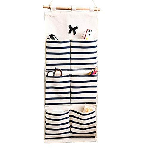 Eamoney Hanging Storage Bag Stripe Multi-Mounted Living Room Bathroom Wall Door Closet Hanging Bag Organizer for Phone Keys 2#