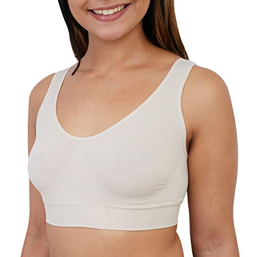 Ultimate Essentials Womens Seamless Pullover Bra Pull-On Tag Free Wireless Bra (Almond, Small)