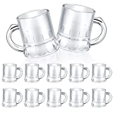 12 Pieces Mini Clear Plastic Beer Mug Miniature Beer Mugs Pub Stein Beer Mug with Handle for Beer Fest Wedding Party Decoration Indoor Outdoor Activity