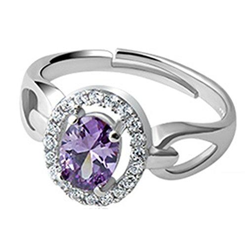 XCFS BEAUTY Anillo de plata de ley S925 con circonita cúbica y diamantes de perforación completos, color morado y amatista para mujer, ajustable