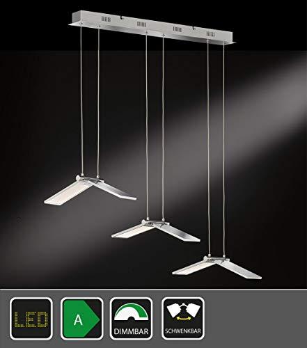 Exklusive 3-flammige LED Pendelleuchte in Nickel matt Länge 70,5 cm - Pendelkörper ein- und ausklapp
