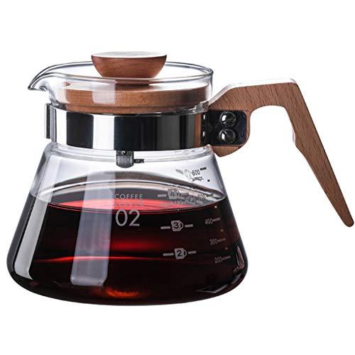 YQQ-Cafetière Coffee Pot Decanter/Carafe régulier - Nouvelle Forme de Verre Design - Poignée Ergonomique en Bois - Capacité 400ml600ml