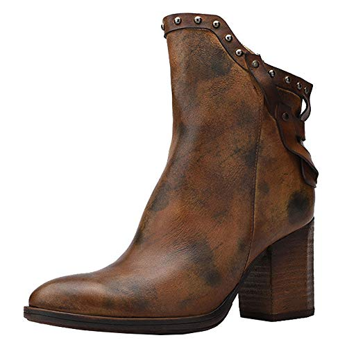 DENGSHENG SHOPS Leder High Heel Damen Thick mit Retro Booties Rivet Side Zipper Smudge Bequeme Single Boots