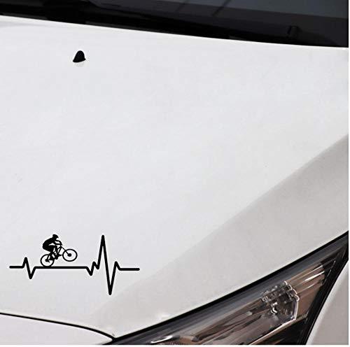 Yangjingkai 2 Stks Fietsen Mountainbike Helm Heartbeat Decal Vinyl Zwart Auto Sticker 16.9Cm*7.9Cm