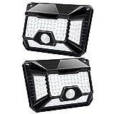 Fousômo Luces Solares para Exteriores LED Lampara Aplique Pared Exterior 128 LEDs Control Remoto Luz con Sensor de Movimiento IP65 Impermeable Iluminación de Seguridad Contra Inundaciones