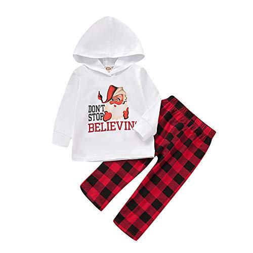 Tout-Petit Bébé Garçon Vêtements de Noël À Manches Longues Santa Sweat à Capuche Sweat à Capuche Pantalon à Carreaux 2 Pièces Ensemble de Tenues en Coton Jour de Noël (Blanc, 9-12 M)
