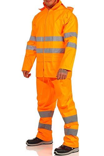 Mivaro Herren Regenanzug Warnschutz EN ISO 20471, hohe Sichtbarkeit, Größe:XL, Farbe:Neonorange