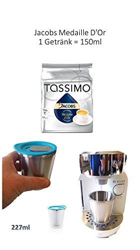 Tassimo Jacobs Médaille d'Or, Kaffee, Kaffeekapsel, gemahlener Röstkaffee, 16 T-Discs +Thermobecher Aroma to go mit Deckel NEU AUS EDELSTAHL von James Premium®