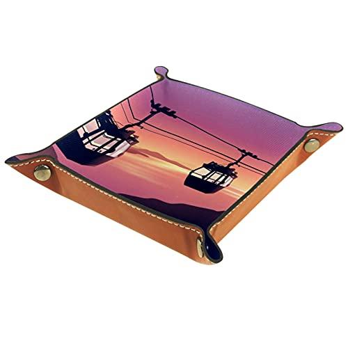 Valet Tray Organisateur de rangement de bureau - Multi-usage en cuir PU Catchall Tray Chevet Nightstand Caddy Dice Holder for Keys, Phone, Wallet, Coin, Jewelry, Car Sunset