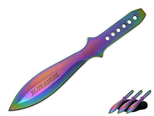 9' 440 Stainless Multi Colored Rainbow Tone Titanium Color Ninja Stealth Throwing Knife Set 3 PSC