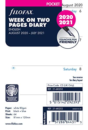 Filofax Pocket Week on Two Pages English mid Year Diary August 20 - July 21,21-68252
