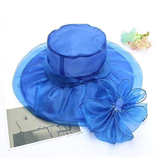 NJJX Vintage Elegante Doble Capa Organza Sombreros para El Sol para Mujer Flor Malla Playa Gorras Verano Sombrero Azul