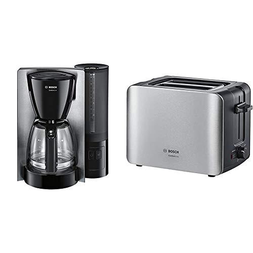 Bosch TKA6A643 ComfortLine Filterkaffeemaschine, 1200 W, Edelstahl & TAT6A913 ComfortLine Kompakt-Toaster, Auftau/Aufwärmfunktion, versenkbarer Brötchenaufsatz, Abschaltautomatik, 1090 W, Edelstahl