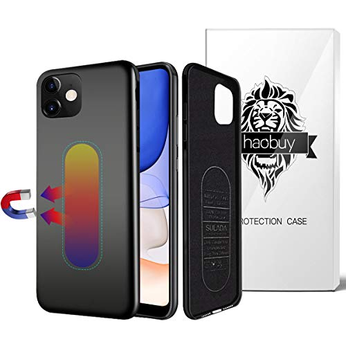 Magnetic Case for iPhone 11, Ultra Thin Magnetic Phone Case for Magnet Car Phone Holder with Invisible Built-in Metal Plate, Soft TPU Shockproof Anti-Scratch Protector Cover for iPhone 11 6.1''-Black