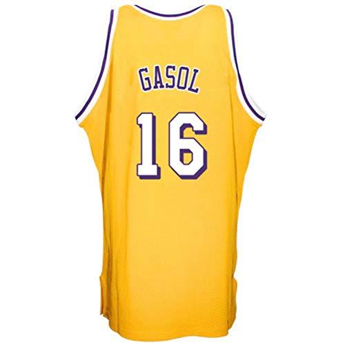 Rencai PAU Gasol # 16 Jersey de Baloncesto de los Hombres, Jerseys sin Mangas Lakers Alero Deportes Retro Los Ángeles Camisa (Color : 3, Size : L)