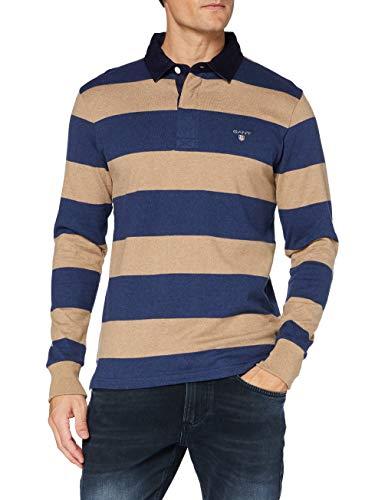 GANT Herren ORIGINAL Barstripe Heavy Rugger Pullover, DK. Sand Melange, M