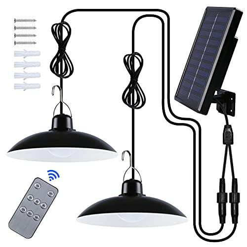 Solar Hängelampe, Solarlampen für Außen IP65 Wasserdicht 120 ° Verstellbarem Solarpanel mit Fernbedienun für Gartenhütte/Balkon/Terrasse/Pavillon