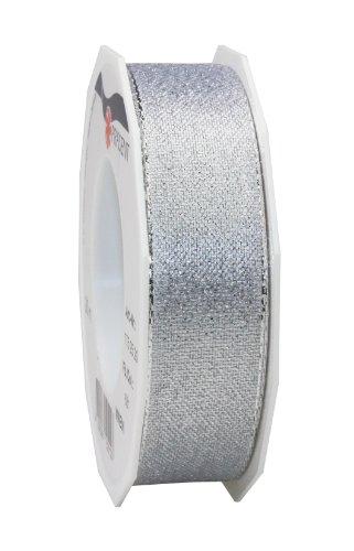 C.E. Pattberg Wien Ruban Cadeau Argenté, 20 m de Ruban Cadeau pour Emballer des Présents, Largeur 25 mm, Accessoire de Décoration et Bricolage, Ruban Décoratif pour Présents