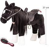 Götz 3402783 Kämmpferd Rappe Puppe - großes Plüschpferd für Stehpuppen - Stockmaß 37 cm - 52...