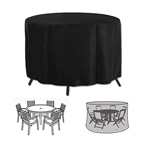 Iptienda Outdoor Patio Furniture Covers, Waterproof UV Resistant Anti-Fading Round Patio Dining Table and Chairs Set Cover, Garden Patio Round Cube Outdoor Rattan Table, Sofa Cover fits for 6 Seater