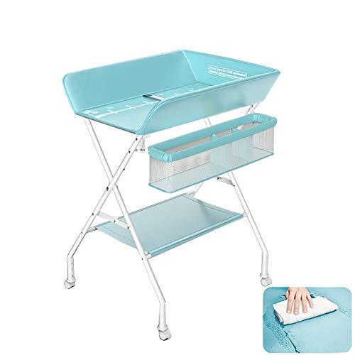 Tables à langer Portable Station De Soins Bébé, Table Pliante Couche pour 0-3 Ans pour Nourrissons Garçons Filles (Color : Blue)