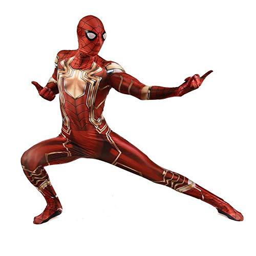 WOLJW Spiderman Kostuum Cosplay Kleding Fancy Dress Kostuum Volwassen Kinderen Cosplay Bodysuit met Rits Terug Spandex Jumpsuits Panty Anime Speel Kostuum